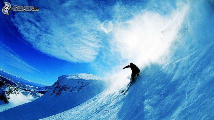 skialpinizmus, lyžiar, sneh