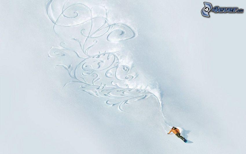 snowboardista, kopec, sneh, ornamenty