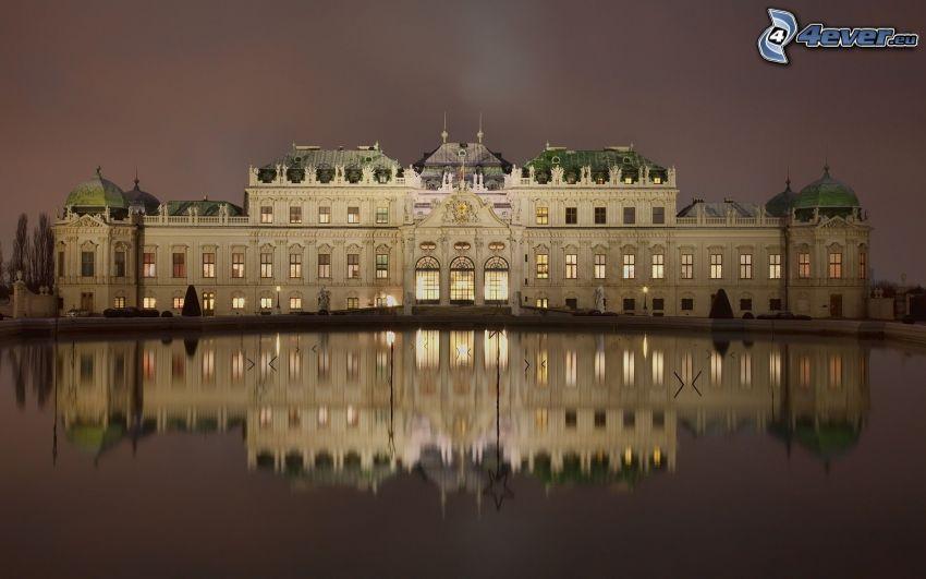 Belvedere Castle, Viedeň, Rakúsko, voda, odraz, večer