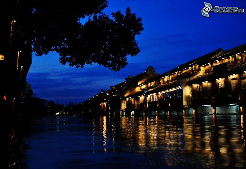 budova, rieka, most, večer