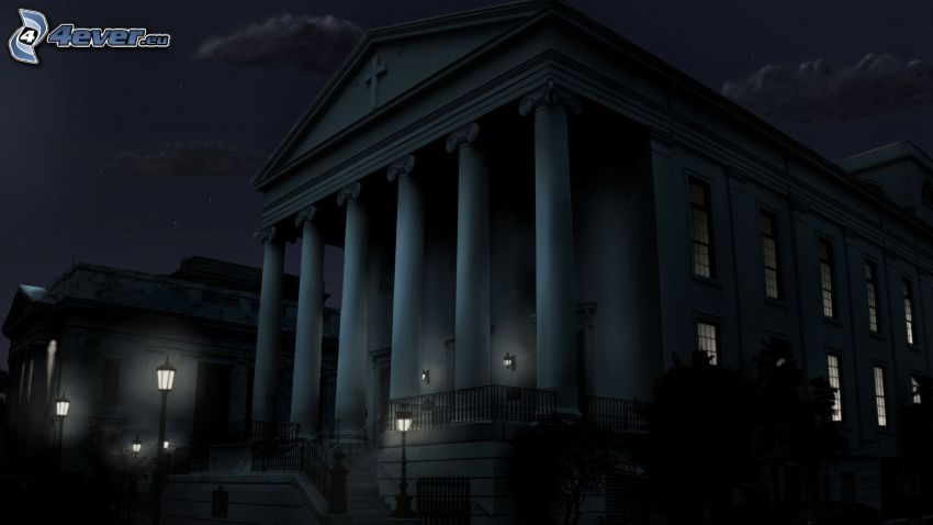 budova, stĺpy, noc