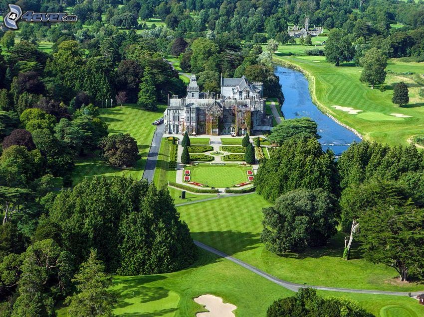 Adare Manor, hotel, záhrada, golfové ihrisko, park, stromy