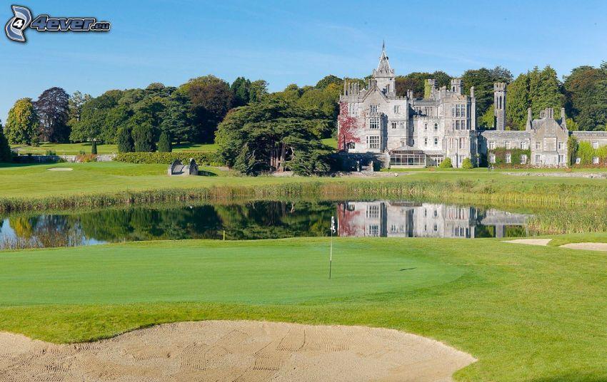 Adare Manor, hotel, záhrada, golfové ihrisko, stromy