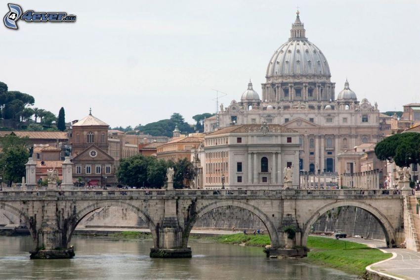 Bazilika svätého Petra, chrám, Rím, Taliansko, most, rieka, domy
