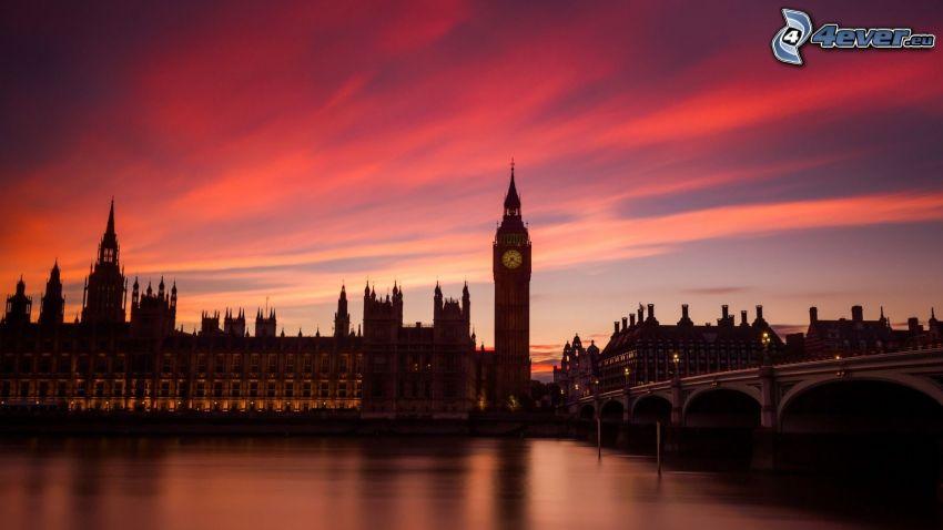 Big Ben, Londýn, večer, oranžová obloha