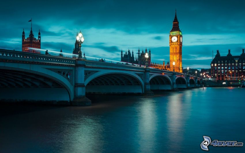 Big Ben, večer, Londýn, Temža