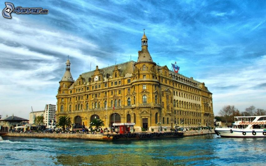 budova, Istanbul, Turecko, rieka, turistická loď