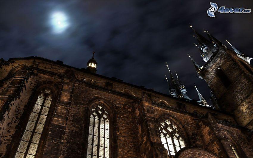 Cathedral Quarter, Derby, Anglicko, katedrála, noc