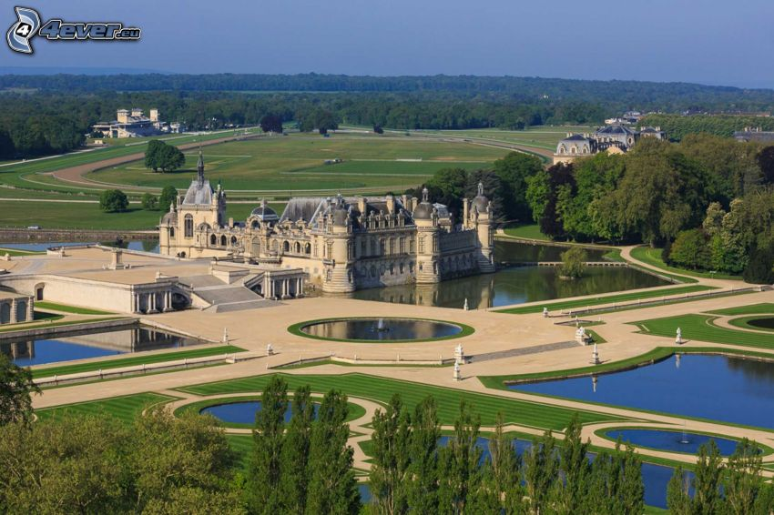 Château de Chantilly, záhrada, jazerá, park