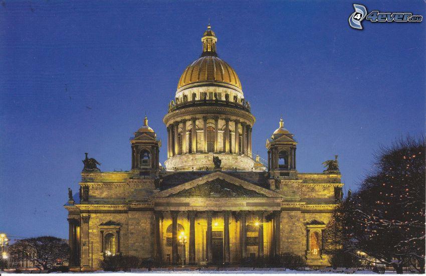 Chrám svätého Izáka, Petrohrad, noc