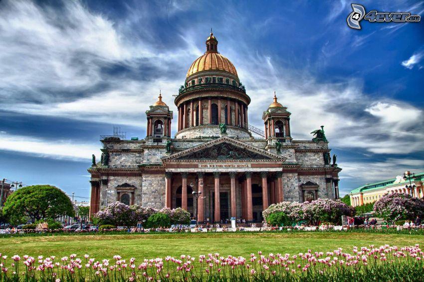 Chrám svätého Izáka, Petrohrad, oblaky, HDR