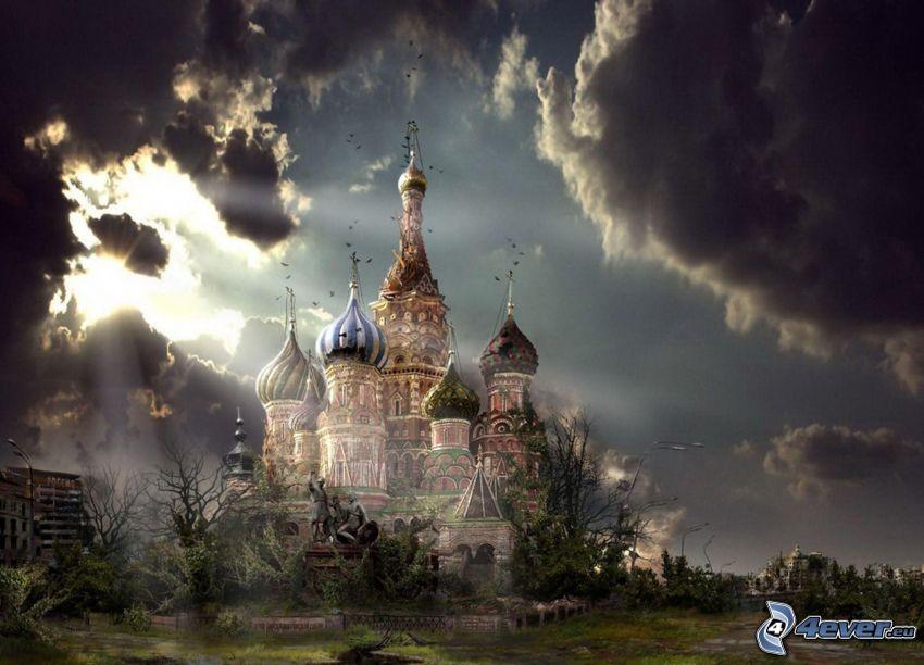 Chrám Vasiľa Blaženého, búrkové mraky, slnečné lúče za oblakom, postapokalyptické mesto