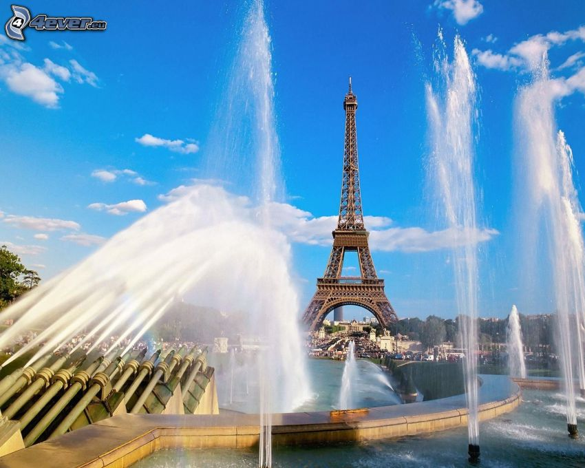 Eiffelova veža, Paríž, fontána