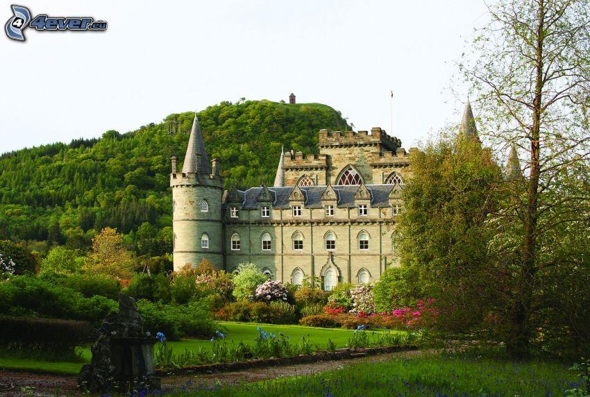 hrad Inveraray, park, kopec
