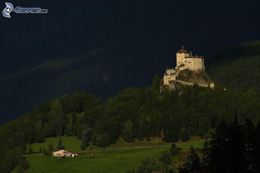 hrad Tarasp, večer, ihličnatý les