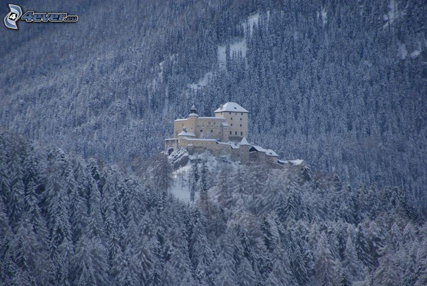 hrad Tarasp, zasnežená krajina, zasnežený les
