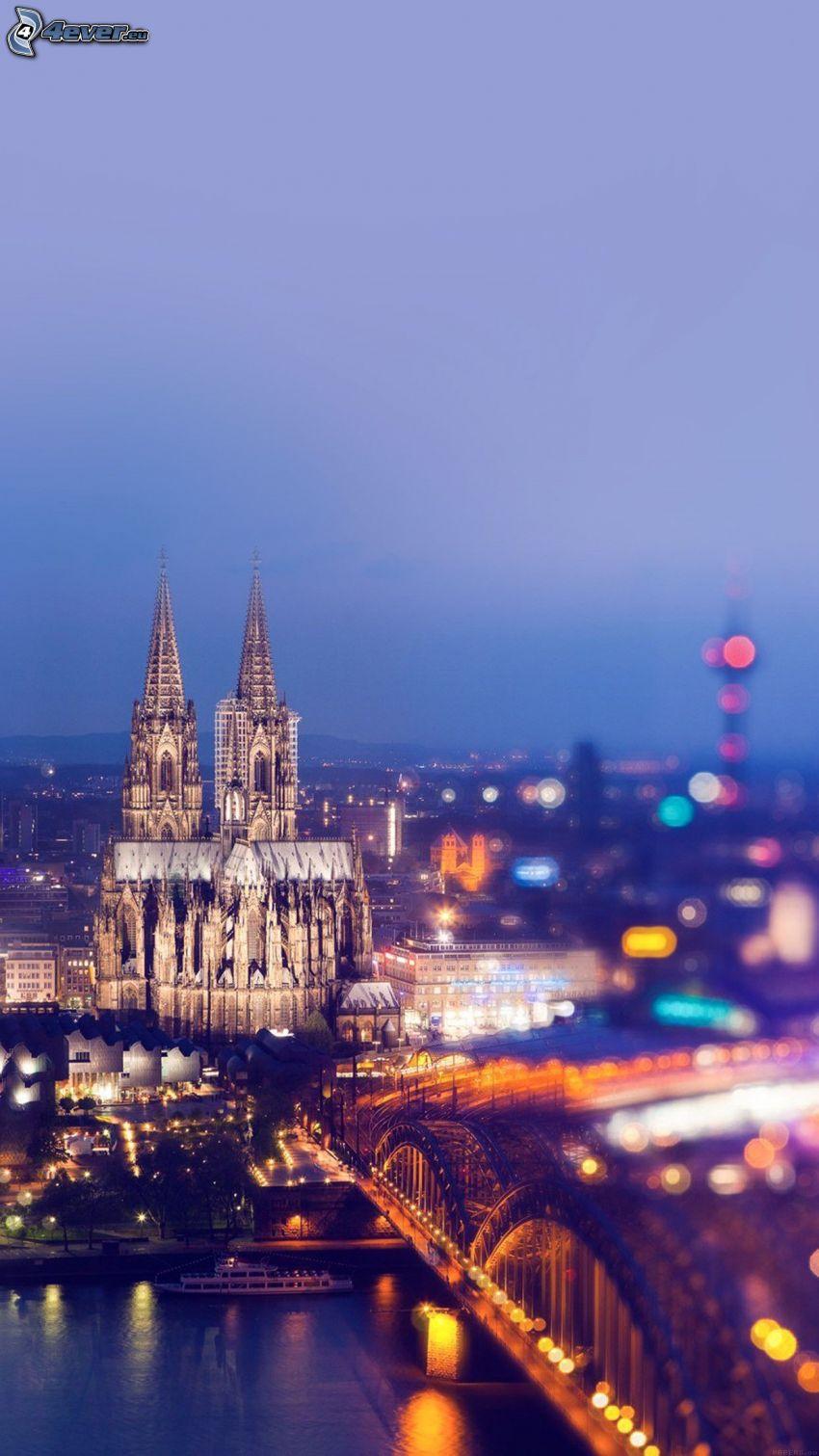 Kolínsky dóm, Hohenzollern Bridge, večerné mesto, Kolín nad Rýnom