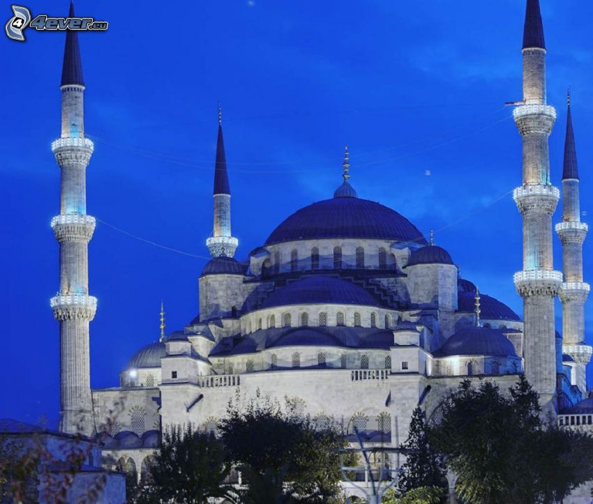Modrá mešita, večer