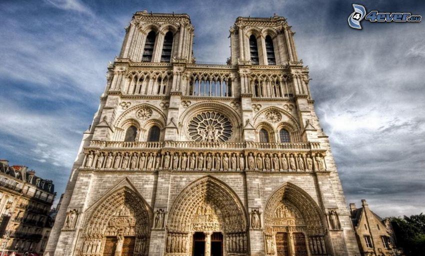 Notre Dame, katedrála, Paríž, HDR