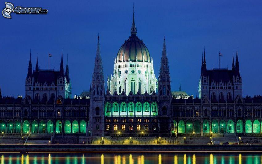 parlament, Budapešť, Maďarsko, večer, osvetlenie, HDR