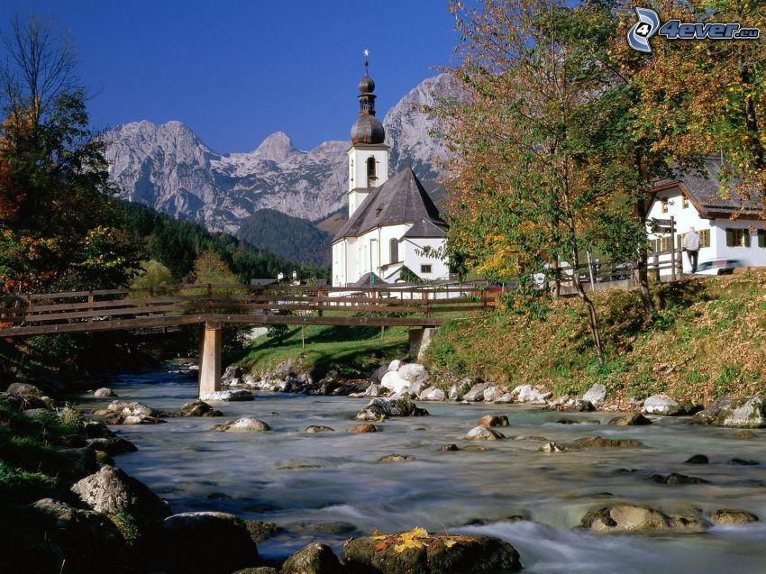 Ramsau, Nemecko, kostol, potok, peší most, dedinka, krajina, hory