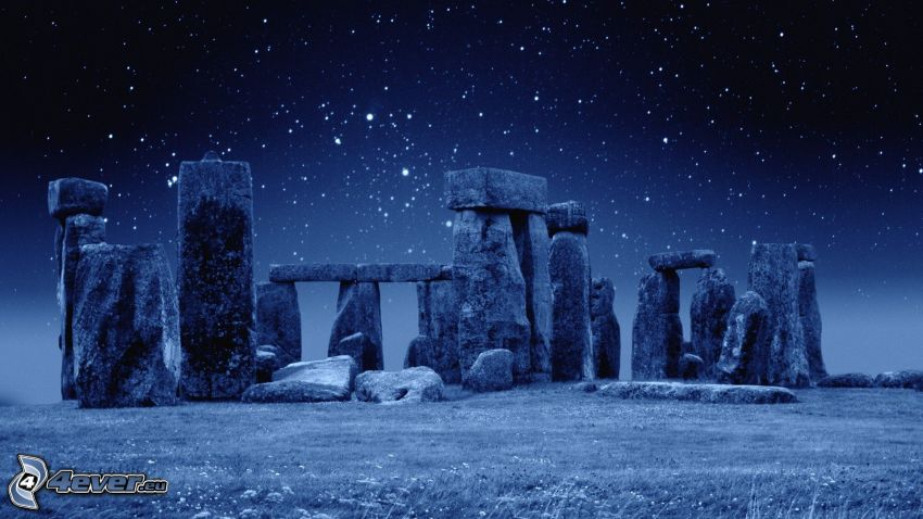 Stonehenge, nočná obloha, noc