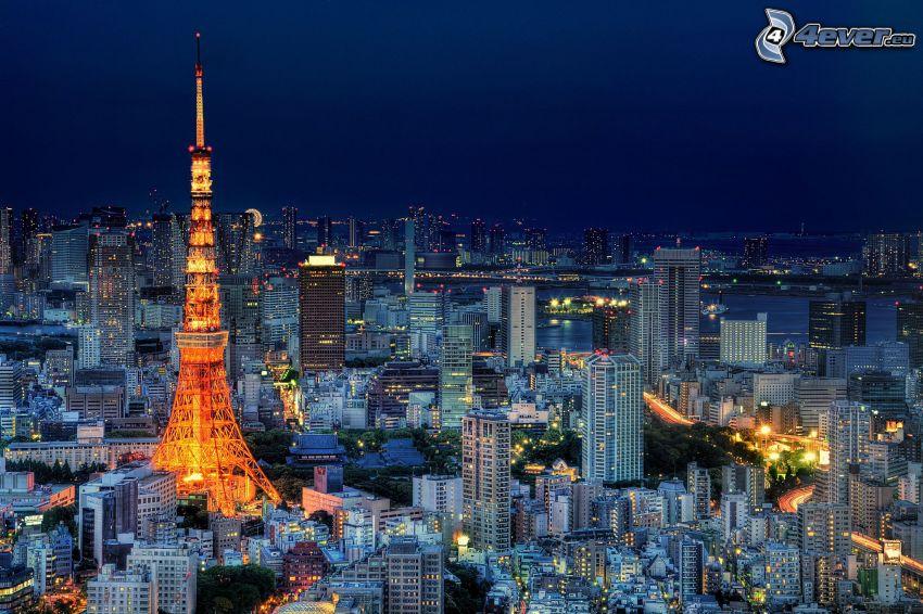 Tokyo Tower, Tokio, výhľad na mesto, večer