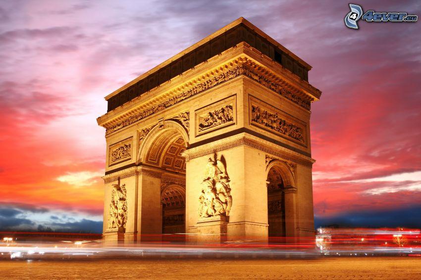 Víťazný oblúk, Paríž, svetlá, HDR