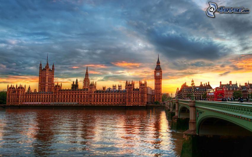 Westminsterský palác, Big Ben, Temža, večer, Londýn