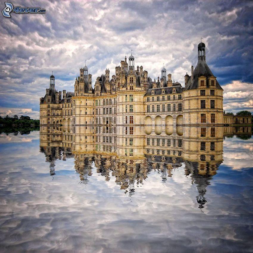 zámok Chambord, Cosson, voda, odraz, oblaky