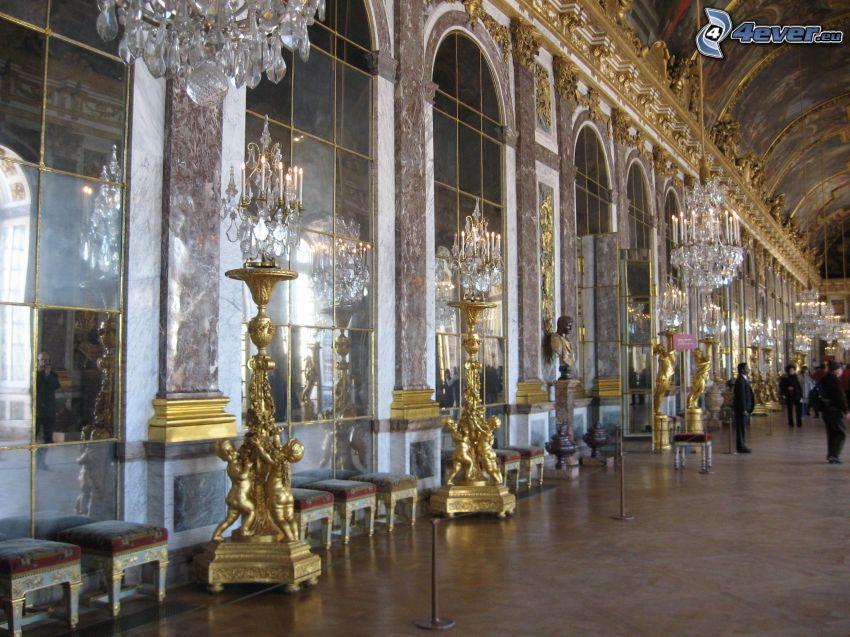 Zámok Versailles, chodba, interiér, svetlá, okná