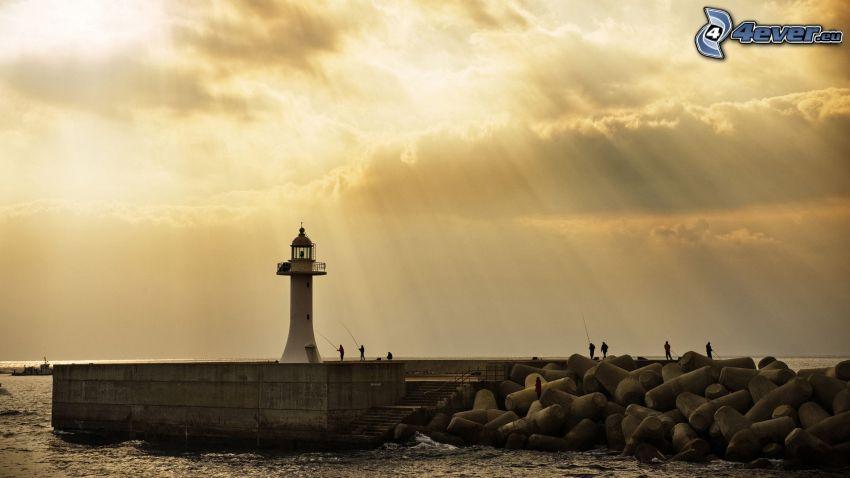 maják, more, slnečné lúče, obloha