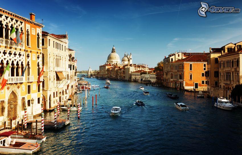 Benátky, Taliansko, člny, domy