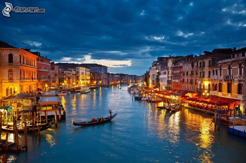 Benátky, Taliansko, večer, osvetlenie, mraky, HDR
