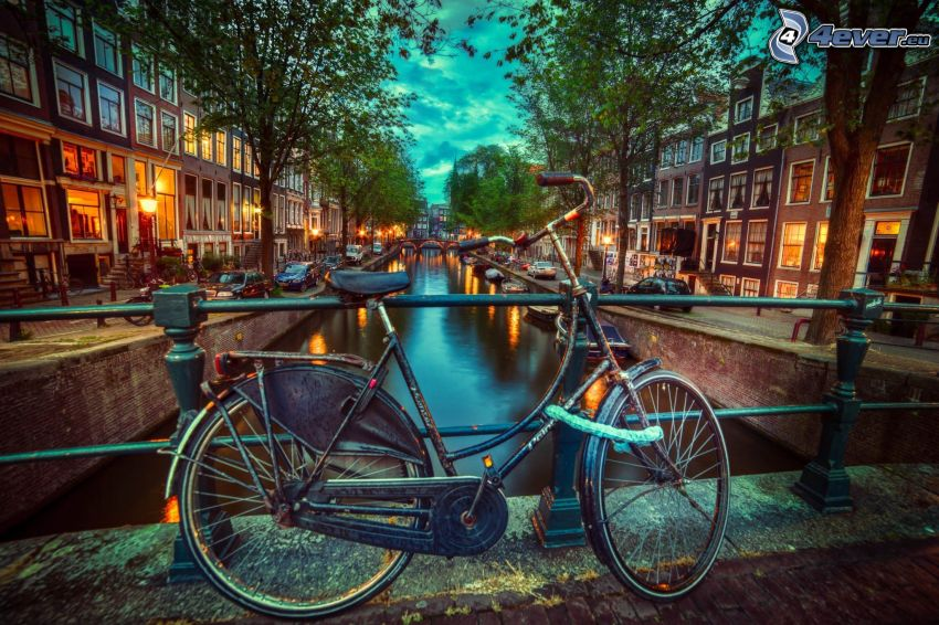bicykel, kanál, večerné mesto, Amsterdam