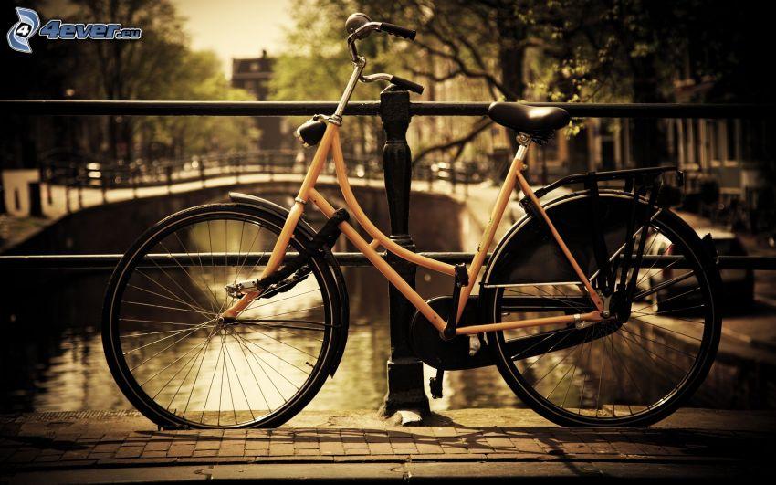bicykel, kanál, zábradlie, Amsterdam
