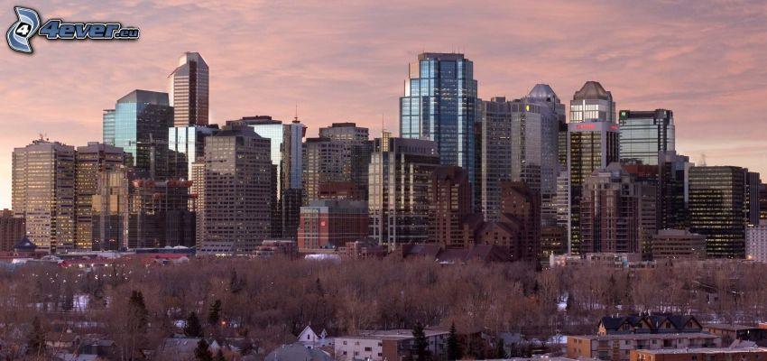 Calgary, mrakodrapy, večerné mesto