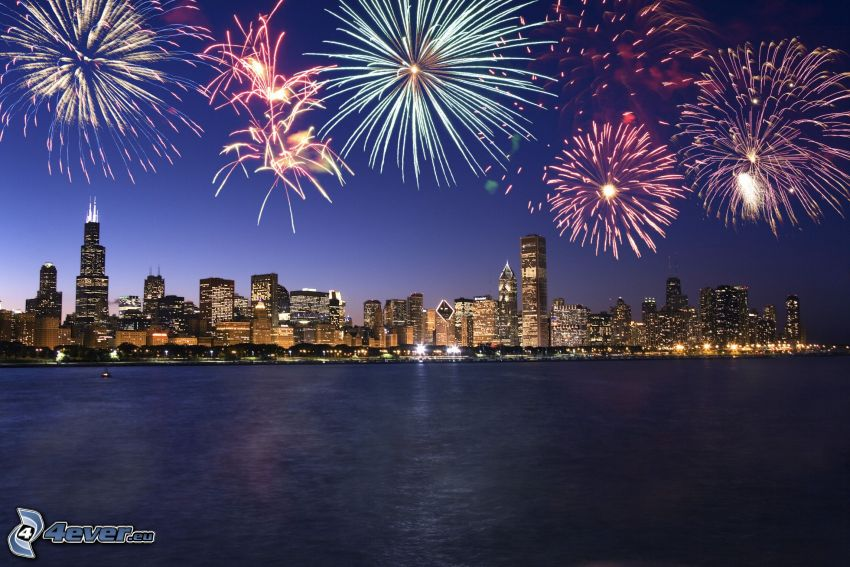 Chicago, ohňostroj, nočné mesto