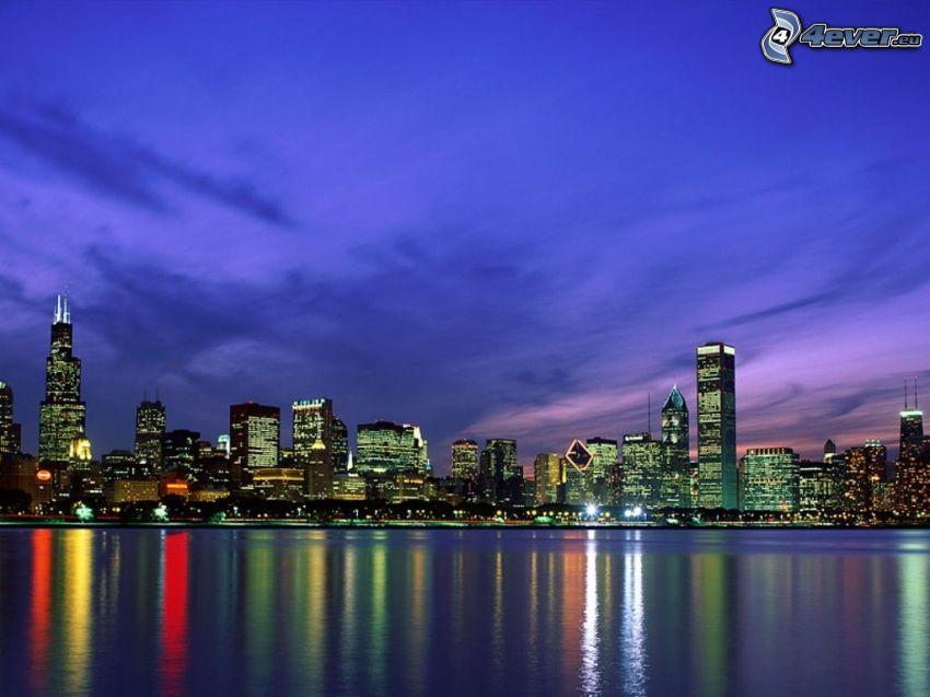 Chicago skyline, USA, nočné mesto, veľkomesto