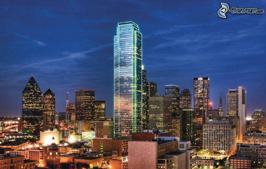 Dallas, nočné mesto, mrakodrapy