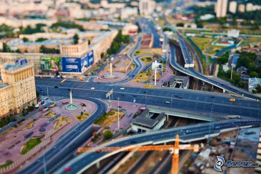 diaľnica, mesto, diorama