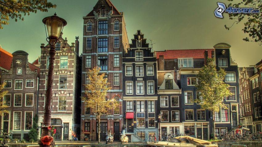 domy, pouličná lampa, Amsterdam
