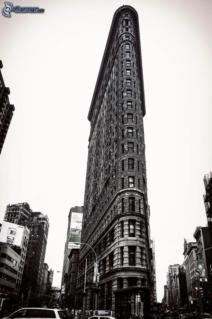 Flatiron, Manhattan, čiernobiela fotka