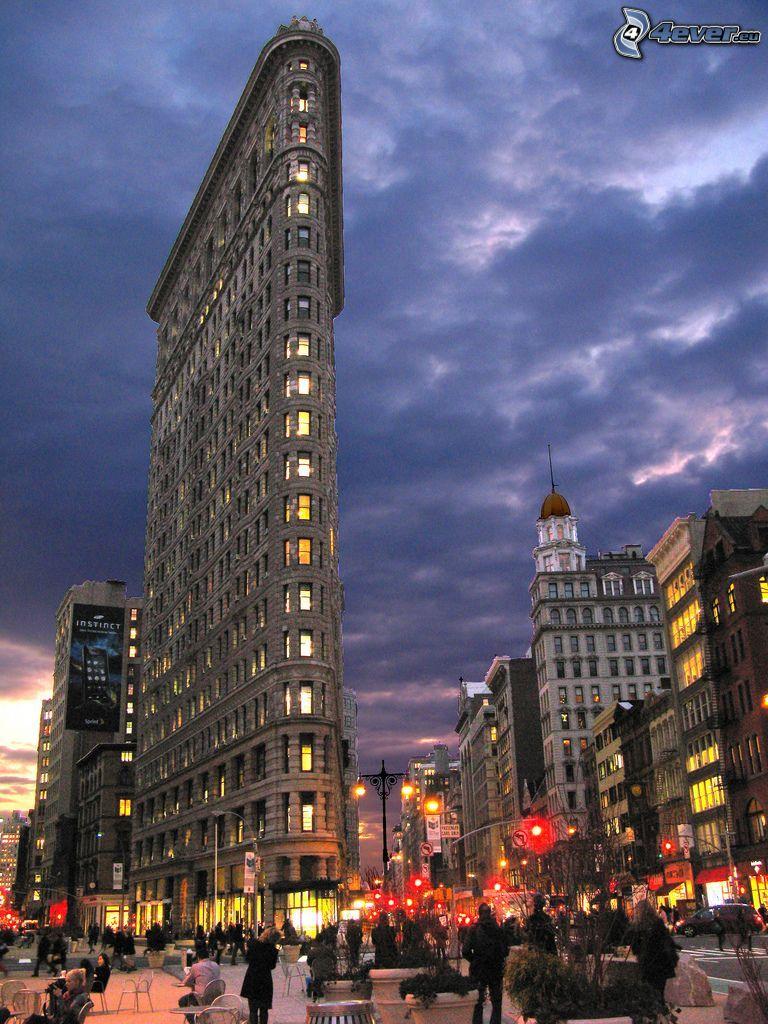 Flatiron, Manhattan, ulica, večerné mesto