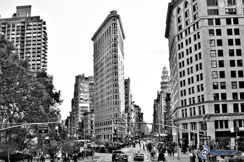 Flatiron, Manhattan, ulice, čiernobiela fotka