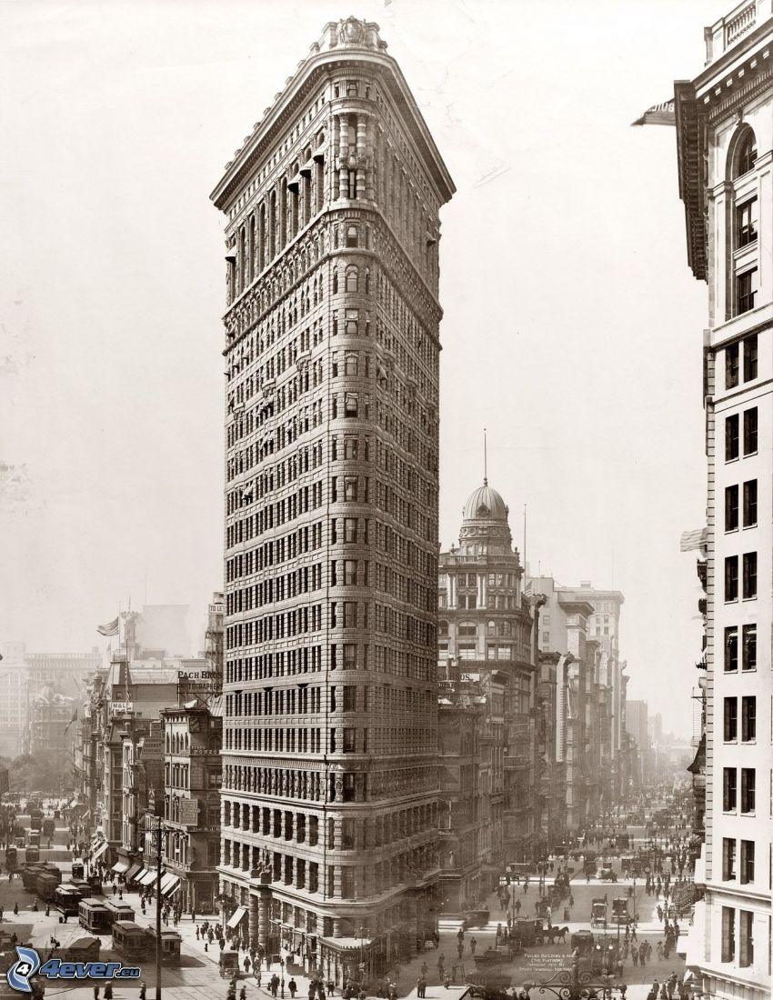 Flatiron, Manhattan, ulice, sépia