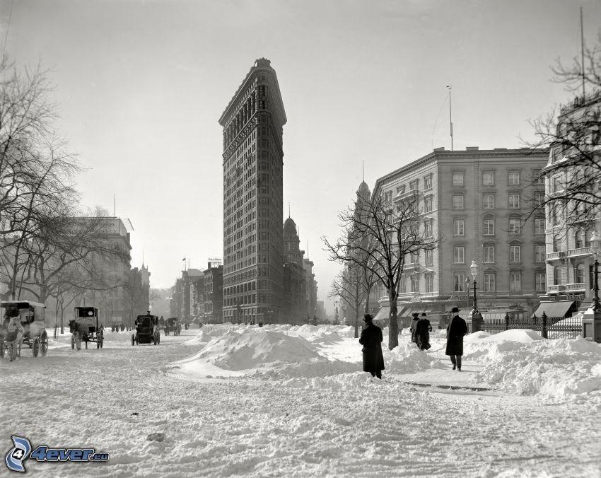 Flatiron, Manhattan, ulice, zasnežené námestie