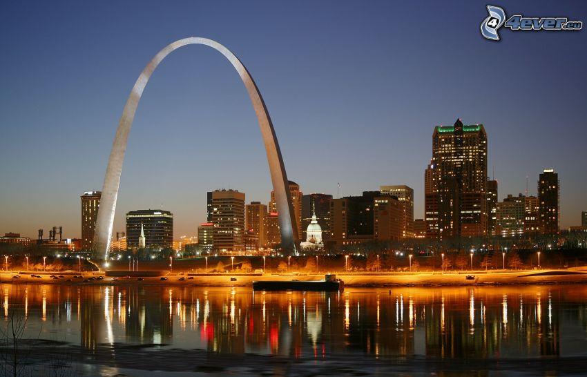 Gateway Arch, St. Louis, USA, budovy, rieka, večer, osvetlenie
