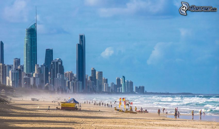 Gold Coast, mrakodrapy, more, piesočná pláž