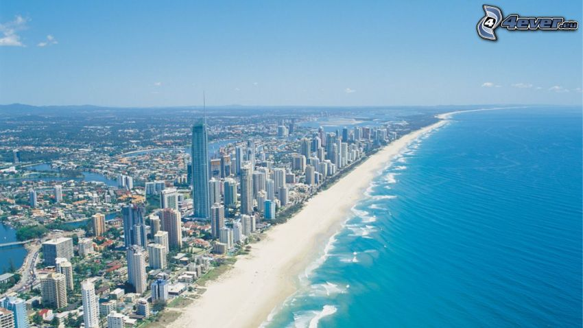 Gold Coast, piesočná pláž, more, mrakodrapy